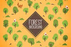 可爱树木和小狐狸无缝背景矢量素材