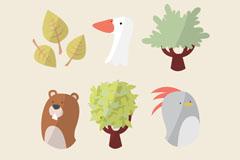 6款自然动植物元素矢量素材