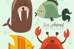 4种可爱海洋动物矢量素材