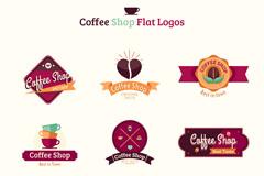 9款扁平化咖啡店标志矢量素材