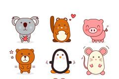 9种可爱动物设计矢量素材