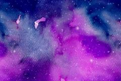 蓝紫色水彩太空背景矢量素材