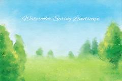水彩绘春季郊外柔美风景矢量素材