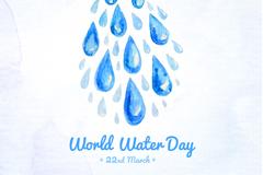 水彩水滴世界水日海报矢量图
