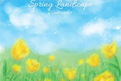 水彩绘春季黄色花海矢量素材