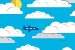 晴朗云层中的飞机矢量素材
