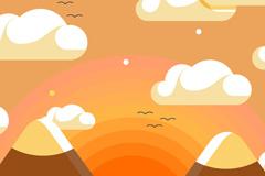 卡通夕阳雪山风景矢量素材