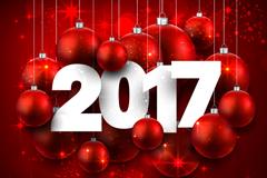 2017年红色吊球节日贺卡矢量素材