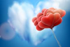 爱心云朵和红色气球束矢量素材