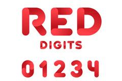 10个红色阿拉伯数字矢量素材