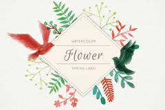 水彩春季花卉和平鸽标签矢量素材