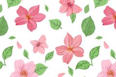 粉色花朵和叶子无缝背景矢量素材