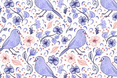 蓝色手绘花鸟无缝背景矢量素材