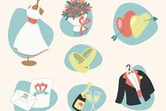 7款创意婚礼元素设计矢量素材