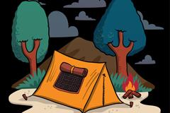 创意手绘野营帐篷和篝火矢量素材