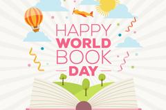 创意世界图书与版权日贺卡矢量素材
