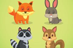 4款呆萌眼睛森林小动物矢量素材