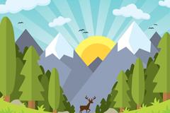卡通山下森林间的鹿插画矢量素材