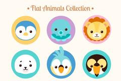 9款可爱圆形动物头像矢量素材