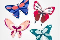 4款彩色蝴蝶设计矢量素材