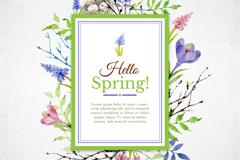 你好夏季水彩花卉装饰卡片矢量图