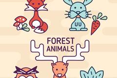 5款简笔画卡通森林动物设计矢量素材