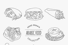 8款手绘阿拉伯美食矢量素材