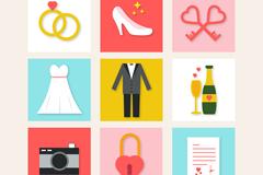 9款方形婚礼用品元素图标矢量素材