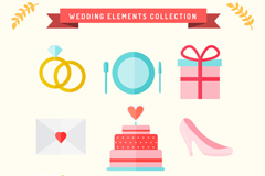 9款清新婚礼元素图标矢量素材