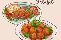 彩绘沙特阿拉伯美食矢量素材