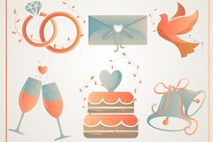 6款创意婚礼元素图标矢量素材