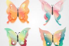 4款彩色花纹蝴蝶元素矢量素材