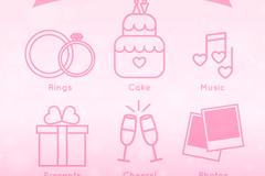 6款简洁粉色婚礼元素图标矢量素材