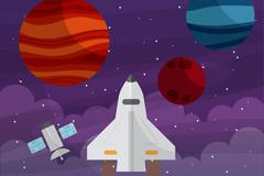 创意太空探索行星和火箭插画矢量素材