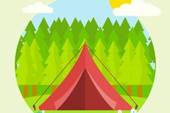 绿色郊外中的红色帐篷矢量素材