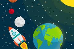 飞进太空的火箭插画矢量素材