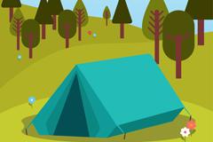 郊外蓝色野营帐篷风景矢量素材