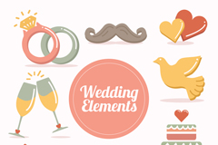 8款素雅婚礼元素图标矢量素材