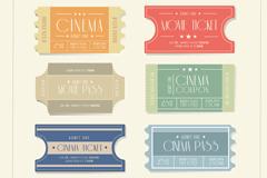 6款纸质电影票设计矢量素材