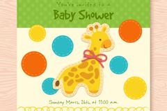 可爱长颈鹿剪贴画迎婴派对请柬矢量图