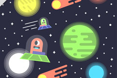 可爱太空外星人插画矢量素材