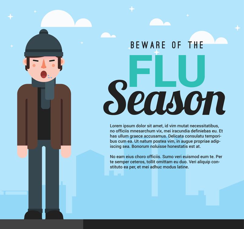 男子和流感季预防插画矢量素材图片