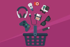10款精致电子产品和购物篮图标矢量图