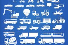 30款白色剪影交通工具图标矢量图