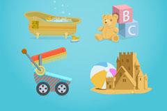 6款卡通婴儿用品元素矢量素材