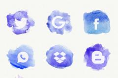 9款蓝色水彩绘社交媒体图标矢量图