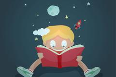 卡通世界读书日男孩贺卡矢量素材