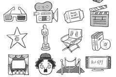 16款创意手绘电影元素矢量素材