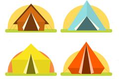 4款彩色夏季野营帐篷矢量素材