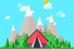 野外雪山脚下野营帐篷插画矢量素材